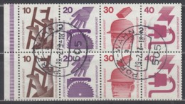 BRD  Heftchenblatt 23, Mit Strichelleiste, Gestempelt, Unfallverhütung 1972 - Markenheftchen