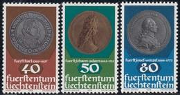 LIECHTENSTEIN - Scott #654@656 Coins / Complete Set Of 3 Mint NH Stamps (K0813) - Liechtenstein