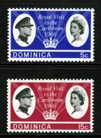 DOMINICA - 1966 ROYAL VISIT SET (2V) FINE MNH ** SG 191-192 - Dominica (1978-...)