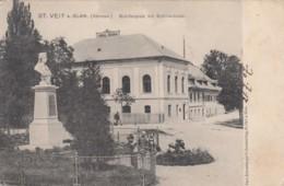 St. Veit An Der Glan (Carinthia) Austria, Schillerplatz With Schiller Bust Statue 1900s Vintage Postally Used Postcard - St. Veit An Der Glan
