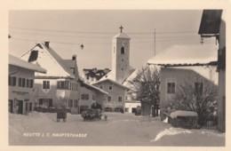 Reutte (Tirol) Austria, Hauptstrasse In Snow, Horse-drawn Sledge, Church, C1930s/50s Vintage Real Photo Postcard - Reutte