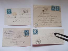 4 LETTRES XIXe MEME ARCHIVE Chateauroux Bourges Salbles D'olonnes Angouleme Ambulant Gannat Napoleon Empire 22 14 Sage - Postmark Collection (Covers)