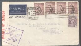 1944 Censored Air Letter To England - Kookaburra 6d X4, Qn Eliz. 1d, - 1937-52 George VI