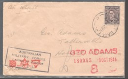Military Concession Air Mail - No 7 Australian Base (Port Moresby PNG) - Tattersall's Censored - Lettres & Documents