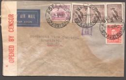 1942  Censored Air Letter To Canada 5d. Merino, 6d. Kookaburra X3- Damaged Cover - 1937-52 George VI