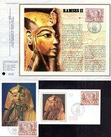 """"""" RAMSES """" Sur LOT (Feuillet CEF + Carte Maximum + Enveloppe 1er Jour) De 1976 N°YT 1899. Parf état. CM - Egyptologie"""