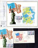 """"""" INDEPENDANCE DES ETATS-UNIS """" Sur LOT (Feuillet CEF + Carte Maximum + Enveloppe 1er Jour) De 1976 N°YT 1879 Parf état - Unabhängigkeit USA"""