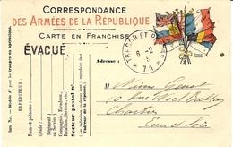 """WWI - C P F M Du SP 71 Avec Mention """" EVACUE """" - Postmark Collection (Covers)"""