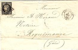 1850- Enveloppe De Besançon ( Doubs ) Cad T15 Affr. N°3  ( 4 Marges )  Oblit. Grille - 1801-1848: Vorläufer XIX