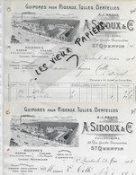 02 - Aisne - ST-QUENTIN - Facture SIDOUX - Guipures Pour Rideaux, Tulles, Dentelles - 1908 - REF 109A - 1900 – 1949
