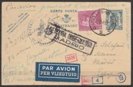 EP 50c Bleu + N°429 Càd IXELLES D2/ 26-3-1943 Par Avion Pour MADRID - Cachets Censures Allemande Et Espagnole [CENSURA G - 1936-1951 Poortman