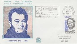 Enveloppe  FDC  Flamme   1er   Jour     FRANCE   STENDHAL    SAINT  MARTIN   D' HERES     1983 - FDC