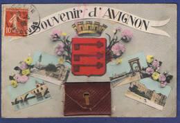 CPA VAUCLUSE (84) - SOUVENIR D'AVIGNON - CARTE A SYSTEME DE 10 MINI-VUES - Avignon