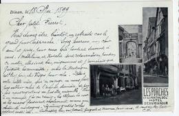 DINAN-CARTE A  2 VUES-LES PORCHES ET LE PORTAIL DE L'HOTEL BEAUMANOIR - Dinan