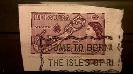 FRANCOBOLLI STAMPS BERMUDA 1953 SERIE LOCALS MOTIVES REGINA ELISABETTA II SU FRAMMENTO FRANGMENT - Bermuda