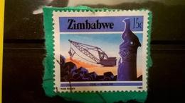 FRANCOBOLLI STAMPS ZIMBABWE 1985 SERIE CULTURA TECNOLOGIA ECONOMIAI SU FRAMMENTO FRANGMENT - Zimbabwe (1980-...)