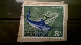 FRANCOBOLLI STAMPS GIAMAICA JAMAICA 1964 LOCAL MOTIFS  SU FRAMMENTO FRANGMENT - Giamaica (1962-...)