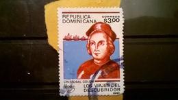 FRANCOBOLLI STAMPS REPUBBLICA DOMINICANA 1991 SERIE VIAGGI AMERICANI CRISTOFORO COLOMBO SU FRAMMENTO FRANGMENT - Repubblica Domenicana