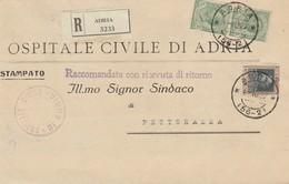 Adria. 1927. Annullo Frazionario (56 - 2), Su Lettera Raccomandata Affrancata, Completa Di Testo - Marcophilie