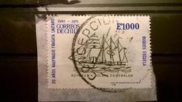 FRANCOBOLLI STAMPS CILE CHILE 1975 SERIE 30 ANNI LAUTARO ESHERALDA SU FRAMMENTO FRANGMENT - Cile