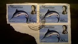 FRANCOBOLLI STAMPS MAURITIS 1969 SERIE MARINE LIFE VITA MARINA BLUE MARLINI SU FRAMMENTO FRANGMENT - Mauritius (1968-...)