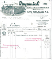 WIEN,1935 IMPERIAL FEIGENKAFFEE FABRIK  - KARL KUHLEMANN  Invoice Faktura - Austria Wien - Österreich