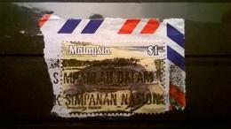 FRANCOBOLLI STAMPS MALESIA MALAYSIA 1979 SERIE ANIMALI DERMOCHELYS CIRIACEA SU FRAMMENTO FRANGMENT - Malesia (1964-...)
