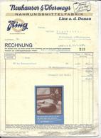 WIEN,1937 NAHRUNGSMITTELFABRIK  - Neuhauser &Vbermeyr  Invoice Faktura - Austria Wien - Autriche