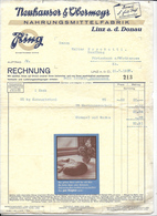 WIEN,1937 NAHRUNGSMITTELFABRIK  - Neuhauser &Vbermeyr  Invoice Faktura - Austria Wien - Austria