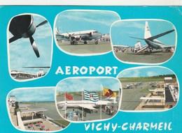 Aéroport VICHY-CHARMEIL ( 03 Allier) Avions, Bâtiments, Drapeaux , 105x150 -timbrée 1970 - Aeródromos