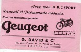 Bordeaux (33 Gironde) Buvard David / Bb2 PEUGEOT (PPP8597) - Transports