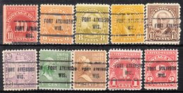 USA Precancel Vorausentwertung Preo, Locals Wisconsin, Fort Atkinson 713, 10 Diff. Perf. 1 X 11x11, 9 X 11x10 1/2 - Etats-Unis