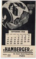Paris Rue Montmartre : Buvard Calendrier 1938 HAMBERGER  Cravates, Vêtements.. (PPP8601) - Textile & Vestimentaire