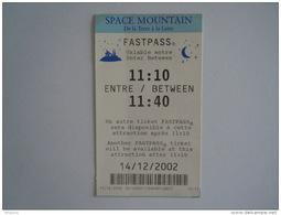 Ticket Disney Fastpass Space Mountain 2002 - Tickets D'entrée