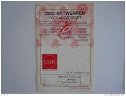 Ticket ZOO Antwerpen 1999 - Toegangskaarten