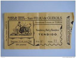 Ticket Corrida De Toros San Feliu De Guixols 1966 - Tickets D'entrée
