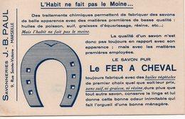 Marseille (13 Bouches Du Rhône) Buvard LE FER A CHEVAL Savon  (PPP8604) - Parfums & Beauté