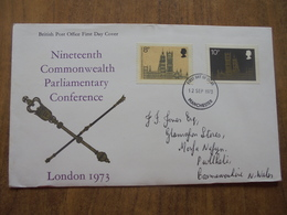 S047: FDC: NINETEENTH COMMONWEALTH PARLIAMENTARY CONFERENCE-LONDON 1973. 8p, 10p. 12 SEP 1973 Manchester. - FDC
