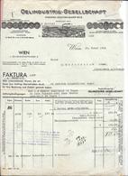 WIEN 1934 OELINDUSTRIE GESELLSCHAFT - FABRIKEN VEGETABILISCHER OELE  Invoice Faktura - Austria Göss - Autriche
