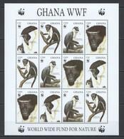 O023 GHANA FAUNA WWF WILD ANIMALS DIANA MONKEY #1973-76 MICHEL 28,5 EURO SH MNH - W.W.F.