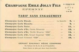 - Dpts Div.-ref-AD738- Marne - Epernay - Carton Tarifs Champagne Emile Jolly Fils - Vin - Vins - Alcool - Publicités - - Epernay