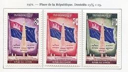 Khmère - Khmer - Cambodge 1971 Y&T N°278 à 280 - Michel N°303 à 305 * - Série Place De La République - Kampuchea