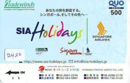 Télécarte  JAPON * SINGAPORE AIRLINES (2420)  AVIATION * AIRLINE Phonecard JAPAN  AIRPLANE * FLUGZEUG - Avions