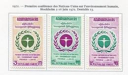 Khmère - Khmer - Cambodge 1972 Y&T N°307 à 309 - Michel N°335 à 337 * - Série Nations Unies - Kampuchea