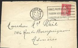 Flamme  Flier  -  Aimez,Protégez Le Pigeon Voyageur Serviteur Du Pays - Sur Devant De Lettre - - Marcophilie (Lettres)