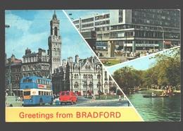 Bradford - Greetings From Bradford - Multiview - Vintage Bus / Car - 1971 - Bradford