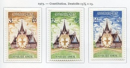 Khmère - Khmer - Cambodge 1973 Y&T N°329 à 331 - Michel N°(?) * - Série Constitution - Kampuchea