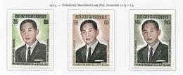 Khmère - Khmer - Cambodge 1973 Y&T N°335 à 337 - Michel N°(?) * - Série Lom Nol - Kampuchea