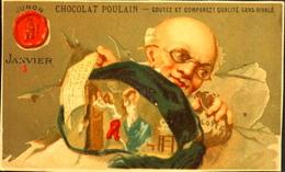 Chromo & Image - Chromo. Dorée - CHOCOLAT POULAIN - Les Mois De L'Année - Janvier - En TB. Et - Poulain