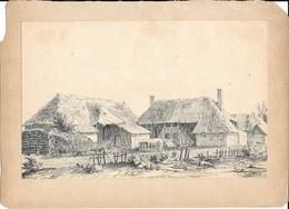 Dessin Original à L'encre J. Müller Aout 1845 Ferme Et Cour En Excellent état - Drawings